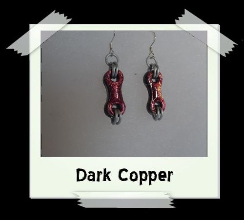Bike Chain Earrings - Dark Copper