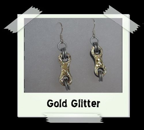 Bike Chain Earrings - Gold Glitter