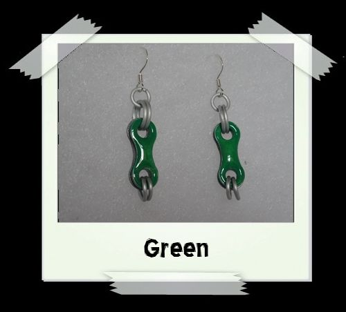 Bike Chain Earrings - Green