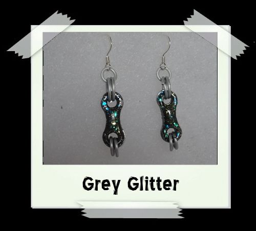 Bike Chain Earrings - Grey Glitter