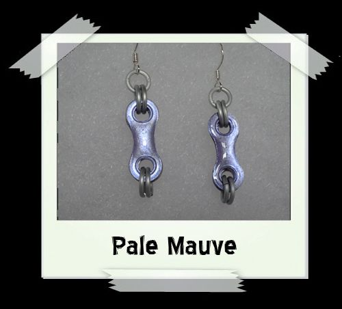 Bike Chain Earrings - Pale Mauve