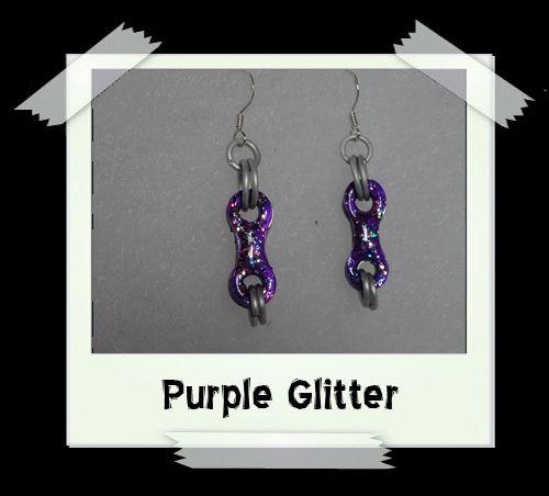 Bike Chain Earrings - Purple Glitter