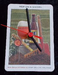 New Belgium 'Hop on a Shovel' Beer Mat Clock BM011