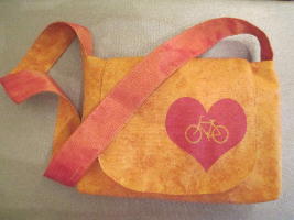 Orange Bike Heart Bag