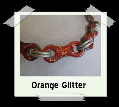 Bicycle Chain Bracelet - Orange Glitter