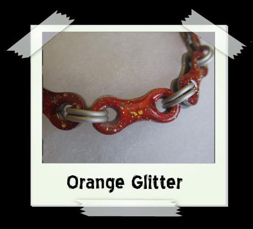 Bicycle Chain Bracelet - Orange Glitter