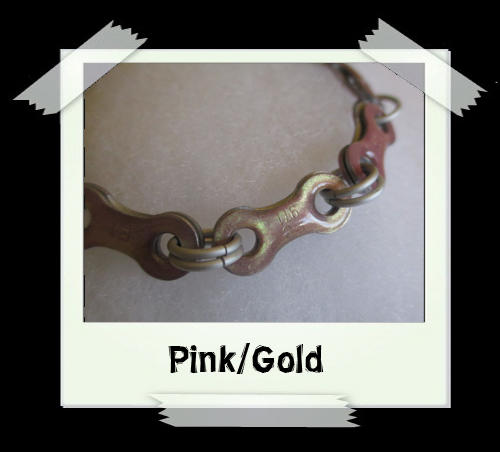 Bicycle Chain Bracelet - Pink/Gold