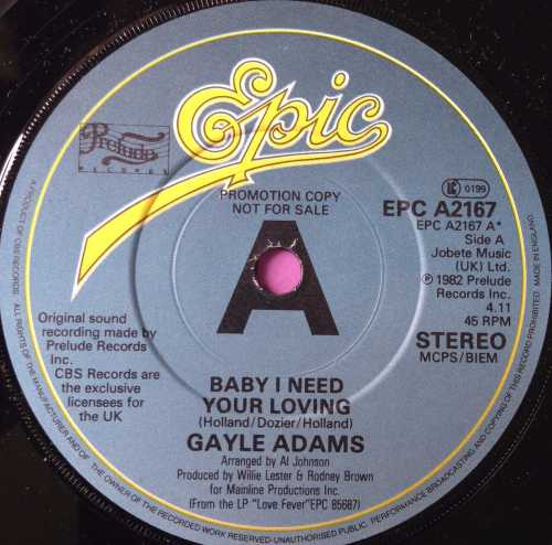 Gayle Adams-Baby I need your loving-UK Epic Demo E+