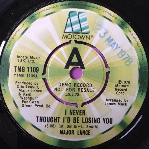 Major Lance-I Never thought I`d be losing you-UK TMG 1109 Demo M-