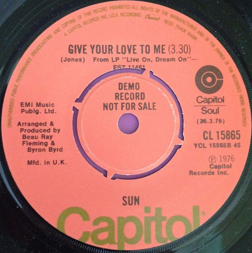 Sun-Give your love to me-UK Capitol demo E+