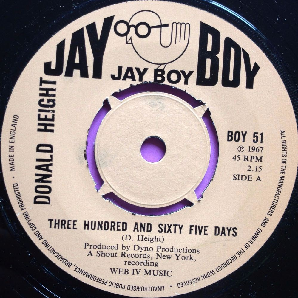 Donald Height-Three hundred and sixty five days-UK Jayboy E+