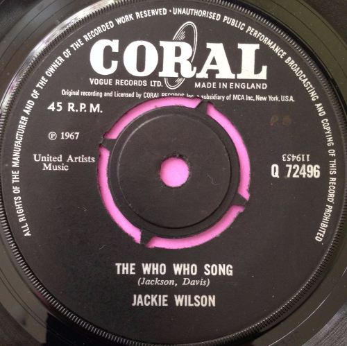 Jackie Wilson-The who who song- UK Brunswick E+