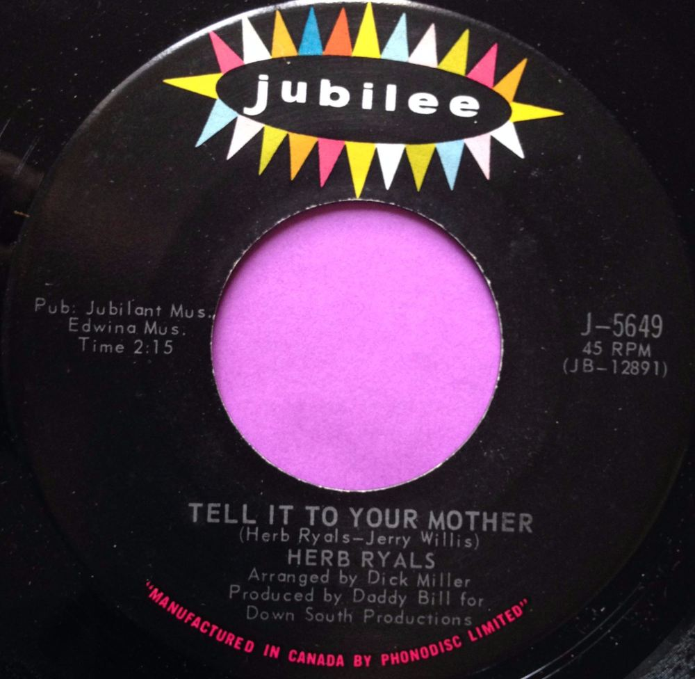 Herb Ryals-Tell it to your mother-Jubilee E+