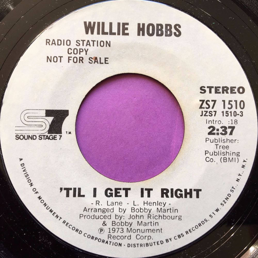 Willie Hobbs-`Til I get it right-SS7 WD E+