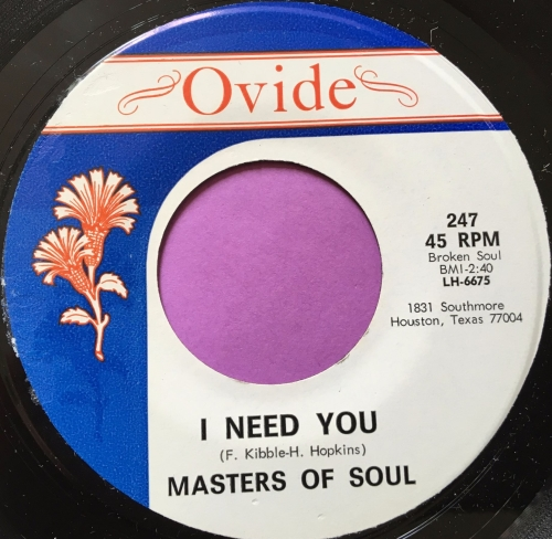 Masters of Soul-I need you/Count the times-Ovide E+