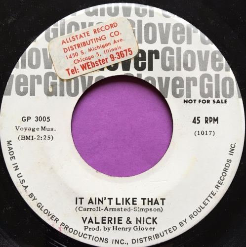 Valerie & Nick-It ain't like that-Glover WD stkr E+