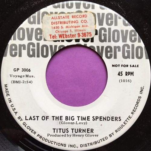 Titus Turner-Last of the big time spenders-Glover WD stkr E+