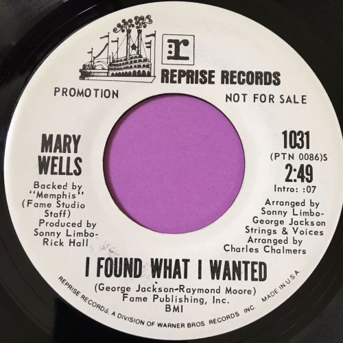 Mary Wells-I found what I wanted-Reprise WD E+