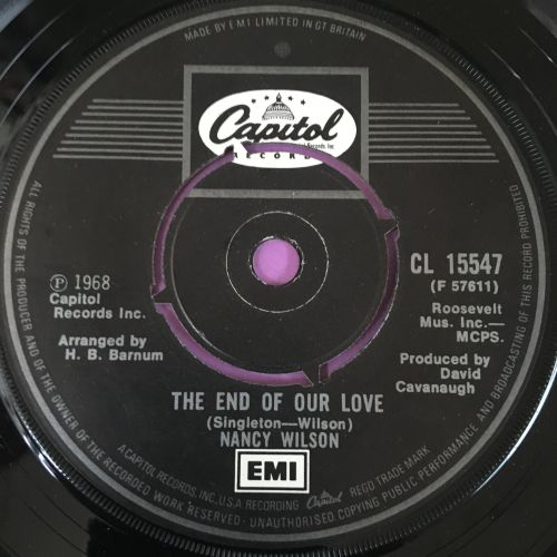 Nancy Wilson-The end of our love-UK Capitol E+