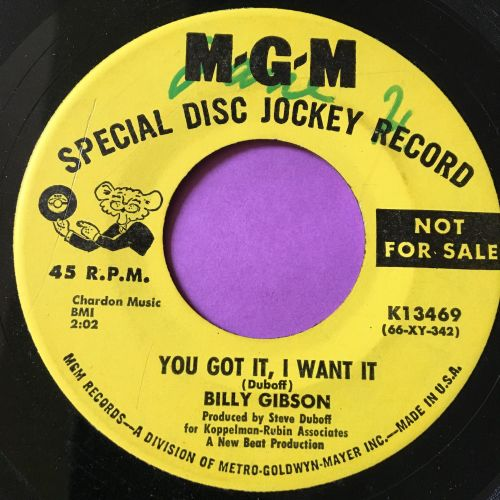 Billy Gibson-You got it I want it-MGM Demo wol E+