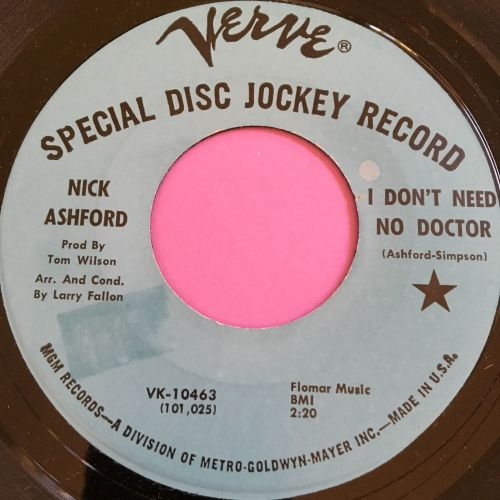 Nick Ashford-I don't need no doctor-Verve demo stkr M-