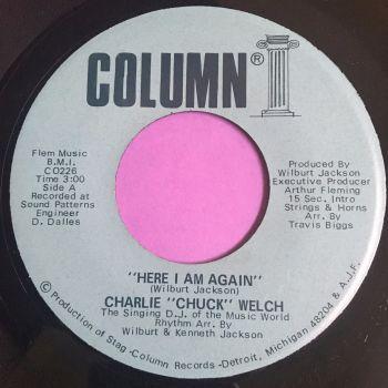 """Charlie """"Chuck"""" Welch-Here I am again-Column E+"""