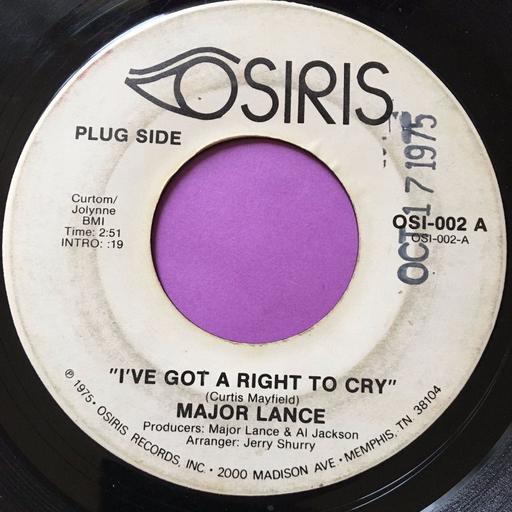 Major Lance-I've got the right to cry-Osiris WD vg+