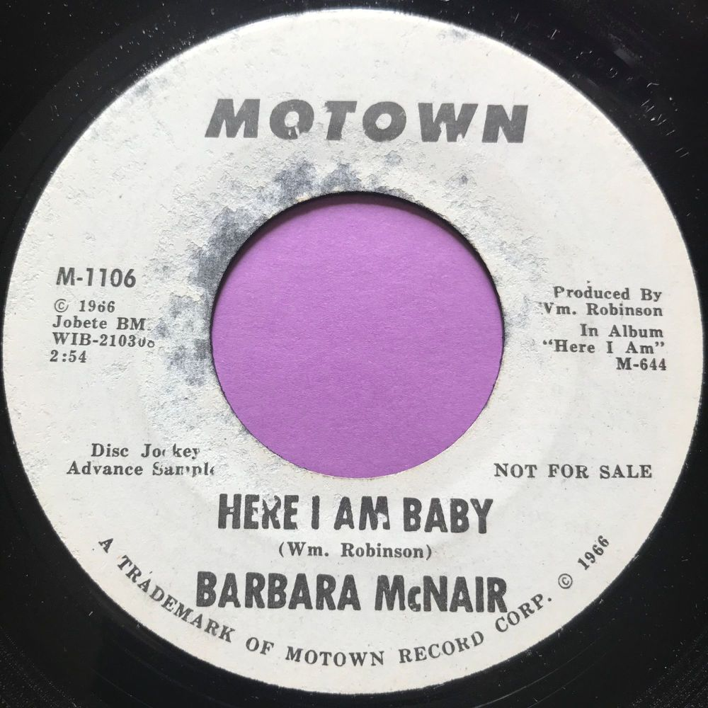 Barbara McNair-Here I am baby-Motown WD label tear E+