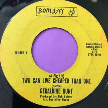 Geraldine Hunt-Two can live cheaper than one-Bombay vg+