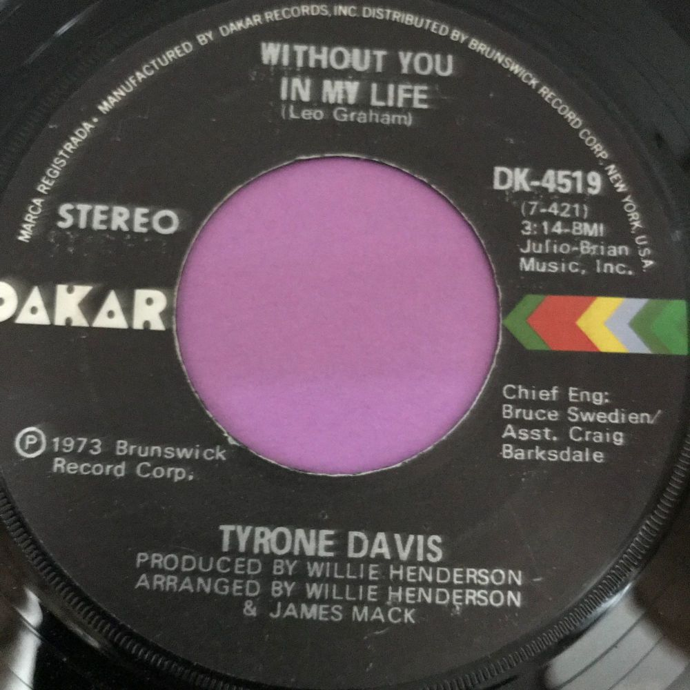 Tyrone Davis-Without you in my life-Dakar E+