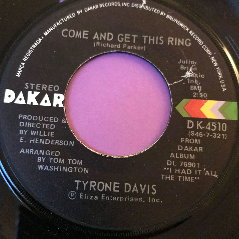 Tyrone Davis-Come and get this ring-Dakar E+