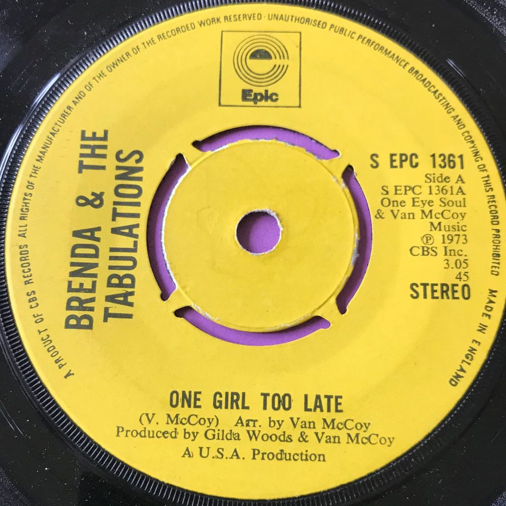 Brenda & Tabulations-One girl too late-UK Epic E+