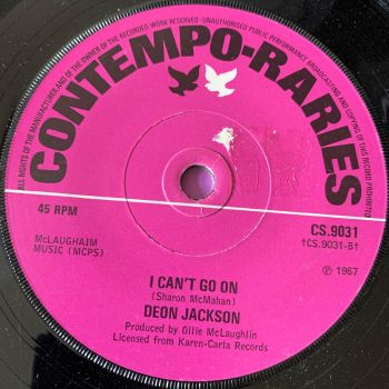 Deon Jackson-I can't go on-UK Contempo Raries stkr E+