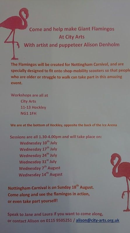 Flamingoes workshop flier