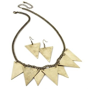 MIMOSA; BRASS SPIKE NECKLACE + EARRINGS