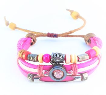 ANGELA LEATHER TRIBAL BRACELET