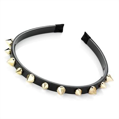 SAFIA: SPIKED HEADBAND BLACK