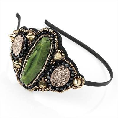 Vida: Jewelled Headband Green
