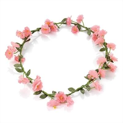 GABRIELE: FLORAL HEADBAND CROWN PINK