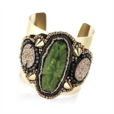 ADELE: JEWEL CUFF- GREEN