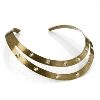 CATIA: GOLD CUFF CRYSTAL NECKLACE