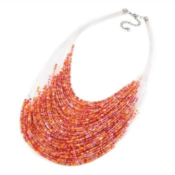 MARY: ORANGE BEADED NECKLACE
