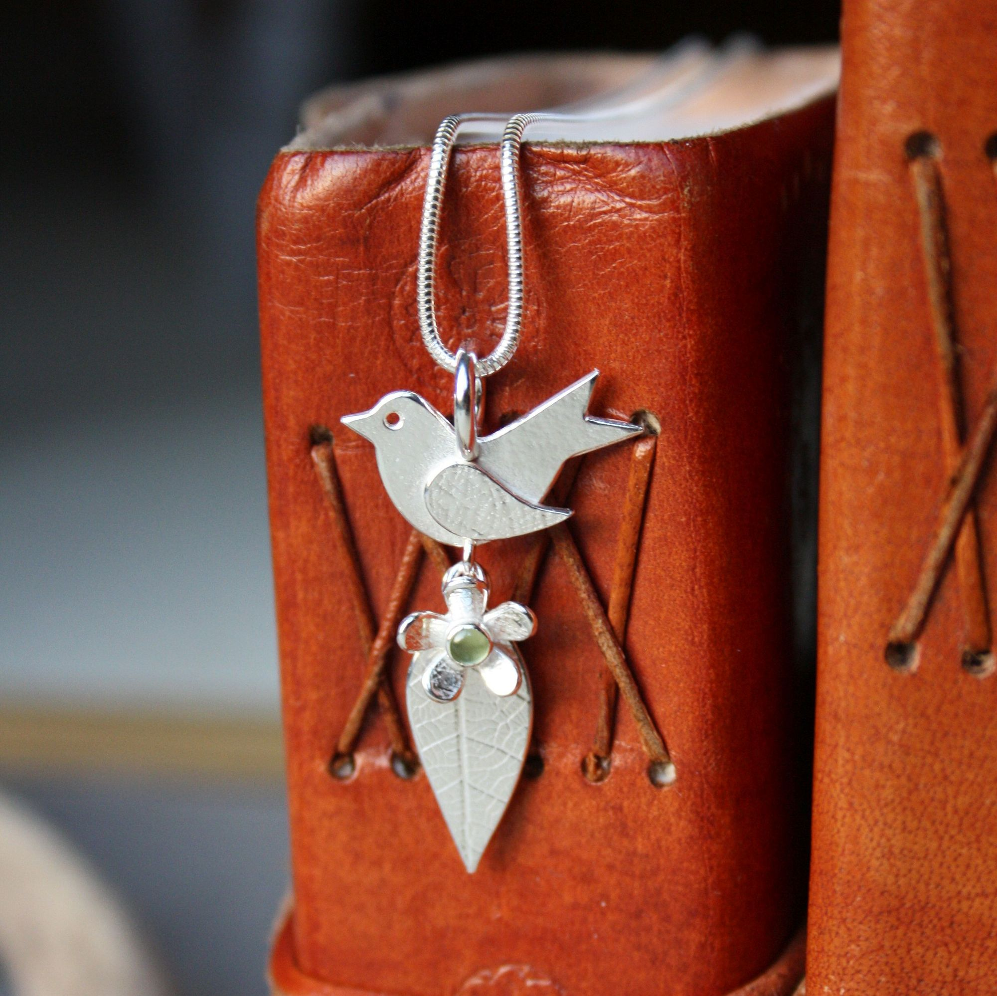 Birthstone bird pendant