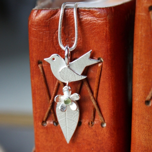 Birthstone Bird & Daisy Leaf Pendant