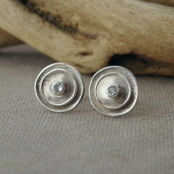 Silver Poppy Birthstone Stud Earrings