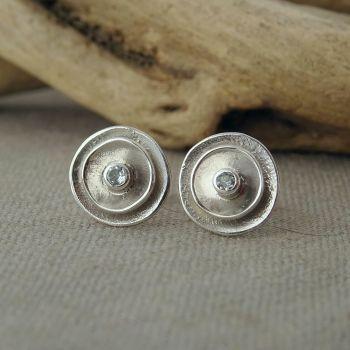 Silver Poppy Birthstone Stud Earrings