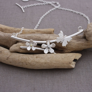 Silver And Gemstone Butterfly Daisy Necklace