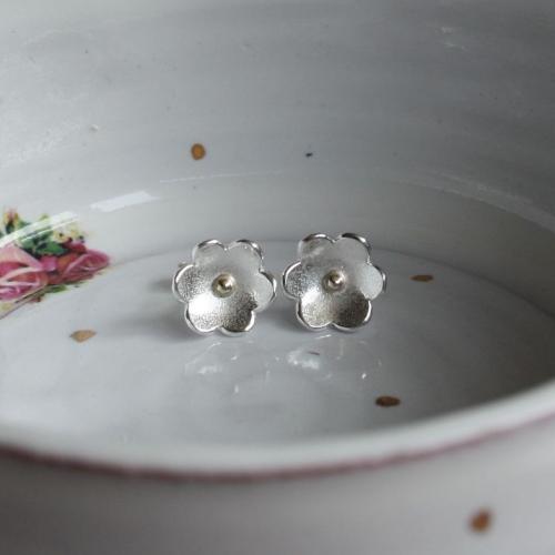 Silver & Gold Buttercup Stud Earrings