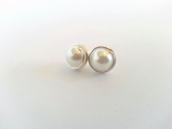 White Pearl Wire Wrapped Bridal Earrings