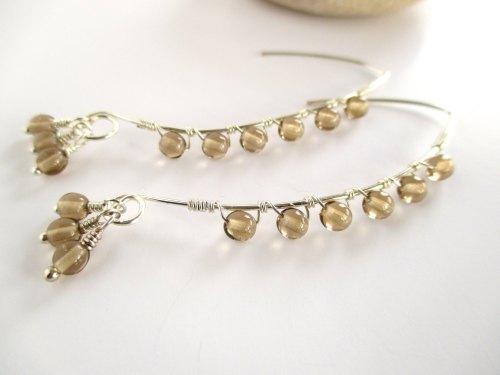 Long Czech Glass Wire Earrings